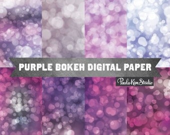 Purple Backgrounds - Bokeh Digital Paper - Purple Digital Paper Commercial Use