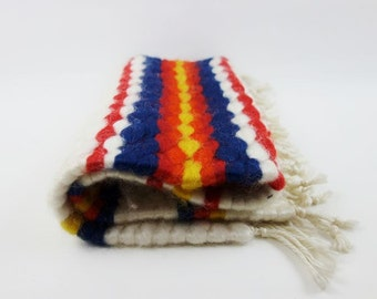Vintage Reversible Felt Wool Small Rug with Cord Fringe
