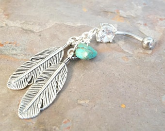 Belly Button Rings Belly Button Jewelry Silver Feathers Turquoise