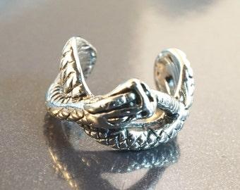 Silver Serpent Snake Ear Cuff Pierceless Earring