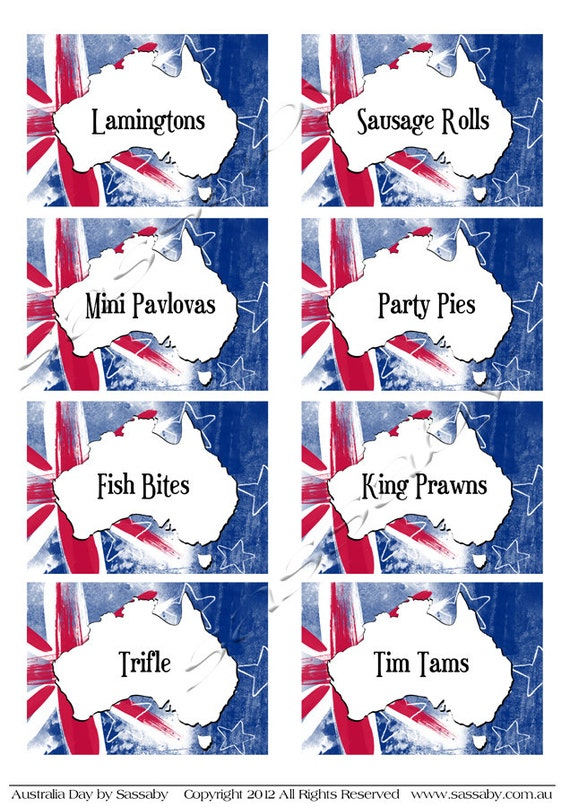 Australia Day Party Labels INSTANT DOWNLOAD by SassabyParties – Australia Day Party Invitations