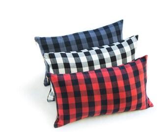 "Buffalo Check Plaid Red 12""x21"" Lumbar Pillow"