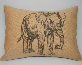 Baby Elephant Burlap Pillow,  African Animal, INSERT INCLUDED