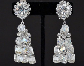 "Dazzling Dramatic Vintage D&E JULIANA Rhinestone Massive 3"" Crystal Dangle Chandelier Earrings Rare"