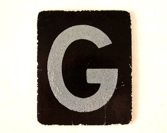 "Vintage Alphabet Letter ""G"" Card with Textured Surface in Black and White (c.1950s) - Ephemera, Altered Art, Scrapbook, or Journal Supply"