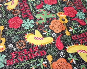 Feliz Navidad Fabric Very colorful with lots of glitter throughout rare htf Fat Quarter New BTFQ