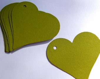 25 paper heart tags - moss green tags - use for wedding favor tags, gift tags, paper ornaments
