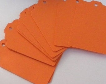 25 Paper Tags in orange - orange paper tags - gift tags - wedding  tags - favor tags - hang tags - gift wrap - supplies