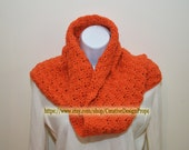 Crochet Chunky Cowl Infinity Loop Scarf - Orange - Neckwarmer, Short Circle Scarf - Ready to Ship