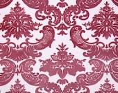 Vintage Flock Wallpaper by the Yard 70s Retro Flock Wallpaper - 1970s Cranberry-Pink Flock Damask on Light Pink