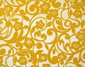 Retro Flock Wallpaper by the Yard 70s Vintage Flock Wallpaper - 1970s Yellow Floral on Gold