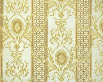 Retro Flock Wallpaper by the Yard 70s Vintage Flock Wallpaper - 1970s Gold Flock Damask Stripes