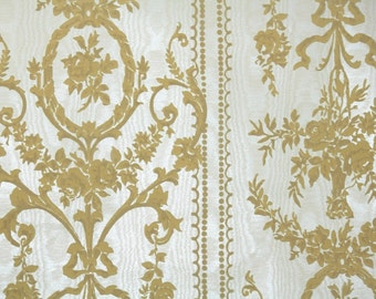 Retro Flock Wallpaper by the Yard 70s Vintage Flock Wallpaper - 1970s Gold Flock Floral Damask on White