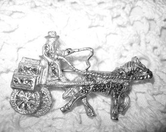 Vintage Marcasite Horse & Buggy Stagecoach Brooch