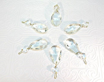 Vintage Chandelier Crystal Prisms Tear Drop Replacements Crafts Jewelry Set of SIX 1980s teardrop octagon