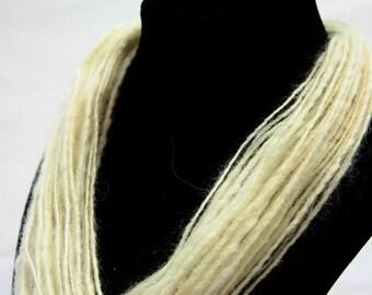 Wool Fiber Art Necklace Cowl Statement Accessory 17g 0.5 oz 32 in OOAK Ready to Ship International - Champagne Foam