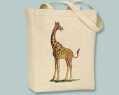 Vintage Giraffe illustration on Canvas Tote -- Selection of  sizes available