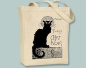 Lautrec French Touree du Chat Noir (Black Cat) Ad Illustration on Canvas Tote -- Selection of sizes ANY IMAGE COLOR available