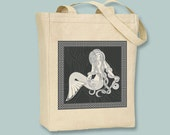 Vintage Celtic Mermaid Natural or Black Canvas Tote  - Selection of sizes available