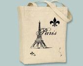 Paris Eiffel Tower and Fleur de Lis Tote - Selection of sizes and image colors