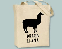 Fun Drama Llama Natural or Black Canvas Tote  - Selection of sizes available