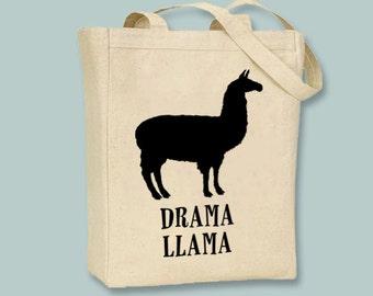 Fun Drama Llama Natural or Black Canvas Tote  - Selection of sizes available