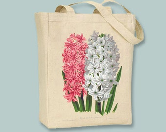 Hyacinth in Pink and White Vintage Flower Illustration Canvas Tote  - Selection of  sizes available