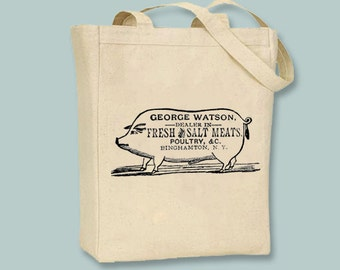 Vintage Pig Fresh Meats Ad Canvas Tote -- Selection of sizes available