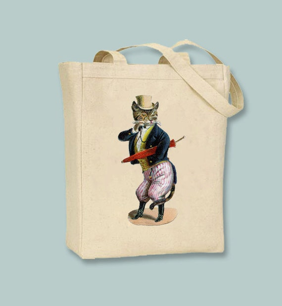 Victorian Cat with Top Hat and Monocle illustration on Canvas Tote -- Selection of sizes available