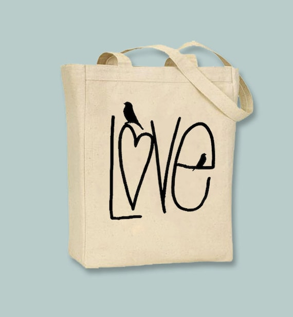 Adorable LOVE with birdie tote  - Selection of sizes and ANY COLOR image available