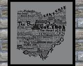 Ohio State Word Art Typography Print The Buckeye State Modern Art Ohio Map With Words Ohio State Map Ohio Decor