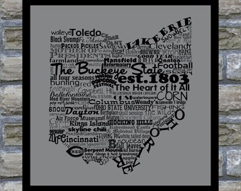 Ohio State Word Art Typography Print The Buckeye State Modern Art Ohio Map With Words Ohio State Map Ohio Decor