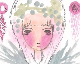 ACEO original fashion illustration girl abstract small artwork