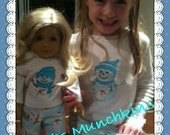 "15"" or 18"" Doll & Child Matching Pajamas / Short or Long Sleeve Tee / PJ Shorts or Long Pants / Custom Made for You"
