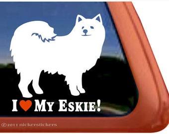 I Love My Eskie! | DC307HEA | High Quality Adhesive American Eskimo Dog Vinyl Window Decal Sticker
