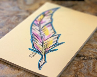 Hand Painted Feather on Yellow Moleskine Cahier Lined Journal
