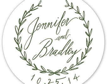 Sweet Vintage Wedding Stickers - 3 inch round circle wedding stickers for favors and wedding welcome bags