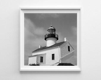 Nautical Decor San Diego Point Loma Lighthouse - Black and White Beach Decor, Square Art Print Film Photography - Large Art Prints Available