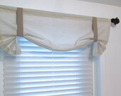 Houndstooth TIE UP Curtain Valance Taupe White  Window Treatments Handmade in the USA