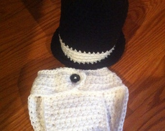 2 pc baby top hat set with diaper cover