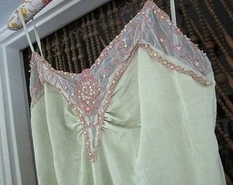 Glamourous Icy-Mint Green Halter Tank - Laced, Embroidered and Sequined, Vintage - Medium to Large