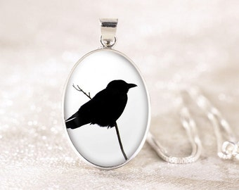 Silver Crow Necklace - Sterling Silver Bird Necklace, Real Silver Bird Jewelry, Raven Crow Jewelry, Black Bird Silhouette Jewelry Pendant