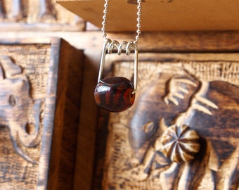 Brown Striped Glass Pendant w/ Silver Ball Chain