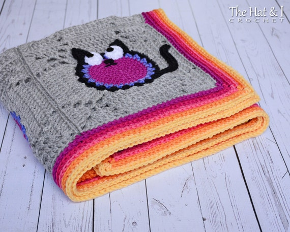 Crochet Cat Afghan Pattern : CROCHET PATTERN - Cat Lover Blanket - a colorful cat ...