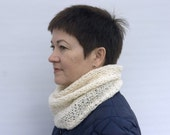 Infinity Scarf, Knit Cowl, Wool Neck Warmer, Knit Circular Scarf, Knitted Scarf, Loop Scarf, Undyed Wool