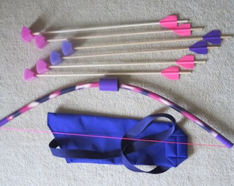 PVC Pink Purple Bow with 6 Foam Tip arrows and Quiver bag, play safe small PVC Bow and Arrow, fun kids toy bow set, archery toy