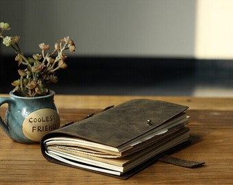 Vintage Leather Journal Diary Notebook Refillable Craft Paper with Gift Box traveler notebook