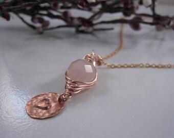 Rose Quartz Pea pod, Rose gold necklace, Love stone necklace, Healing, Power necklace, Heart Chakra