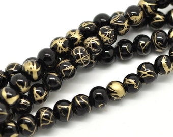 1 Strand 6mm BLACK Glass Beads with GOLD Drizzle Accents, 145 beads  bgl0749