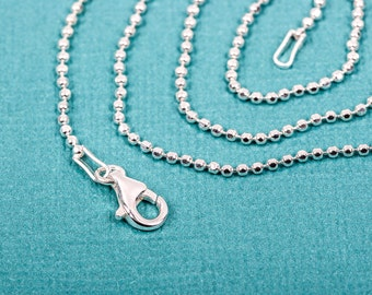 "18"" Sterling Silver Diamond Cut Ball Chain Necklace, 1.5mm, fine chain, thin chain, delicate chain, dainty  pms0257"